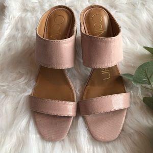 New Calvin Klein Cirella Heeled Slip-On Sandal